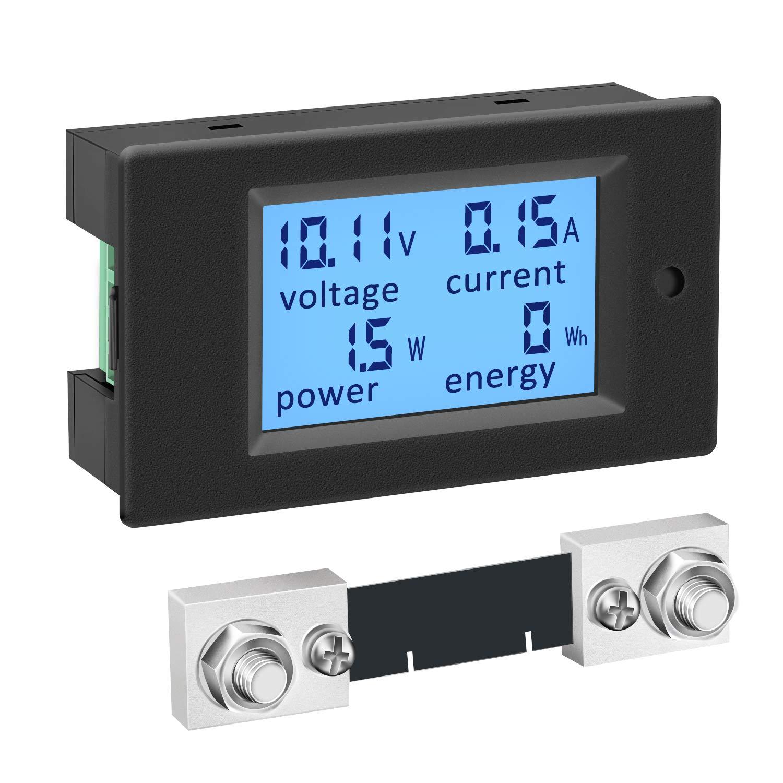 DC Power Meter, DROK 6.5-100V 100A Digital Multimeter, LCD Display Voltage Current Energy Monitor 12V 24V 36V 48V 60V 72V RV Battery Voltmeter Ammeter, Volt Amp Watt Detector Panel with 100A Shunt