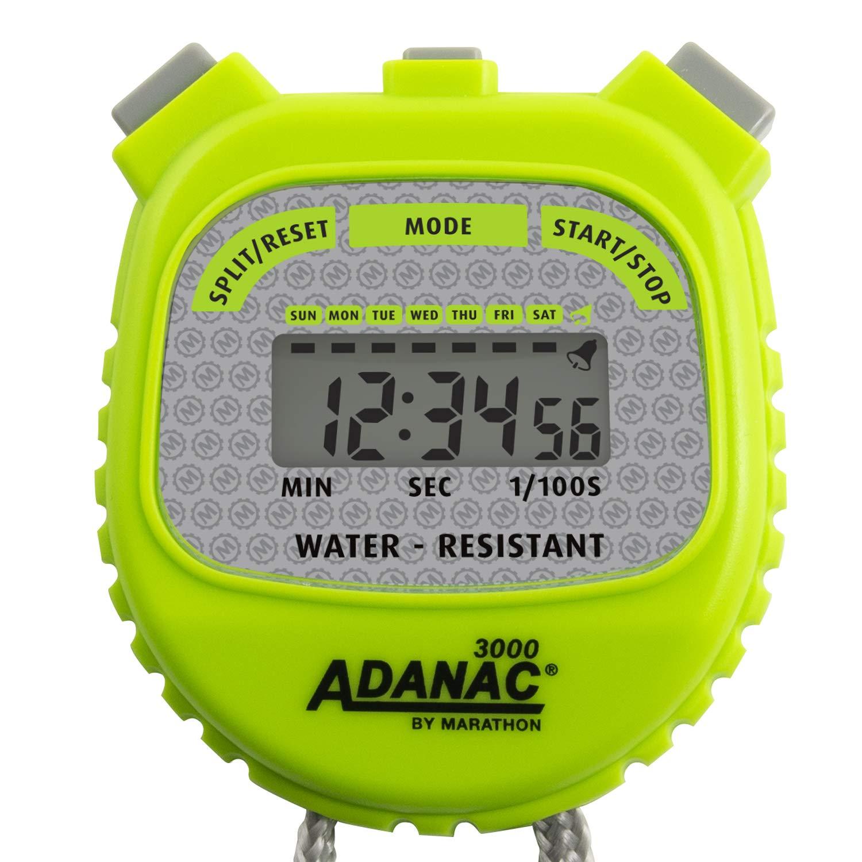 MARATHON Adanac 3000 Digital Stopwatch Timer, Water Resistant (Neon Green, 1)