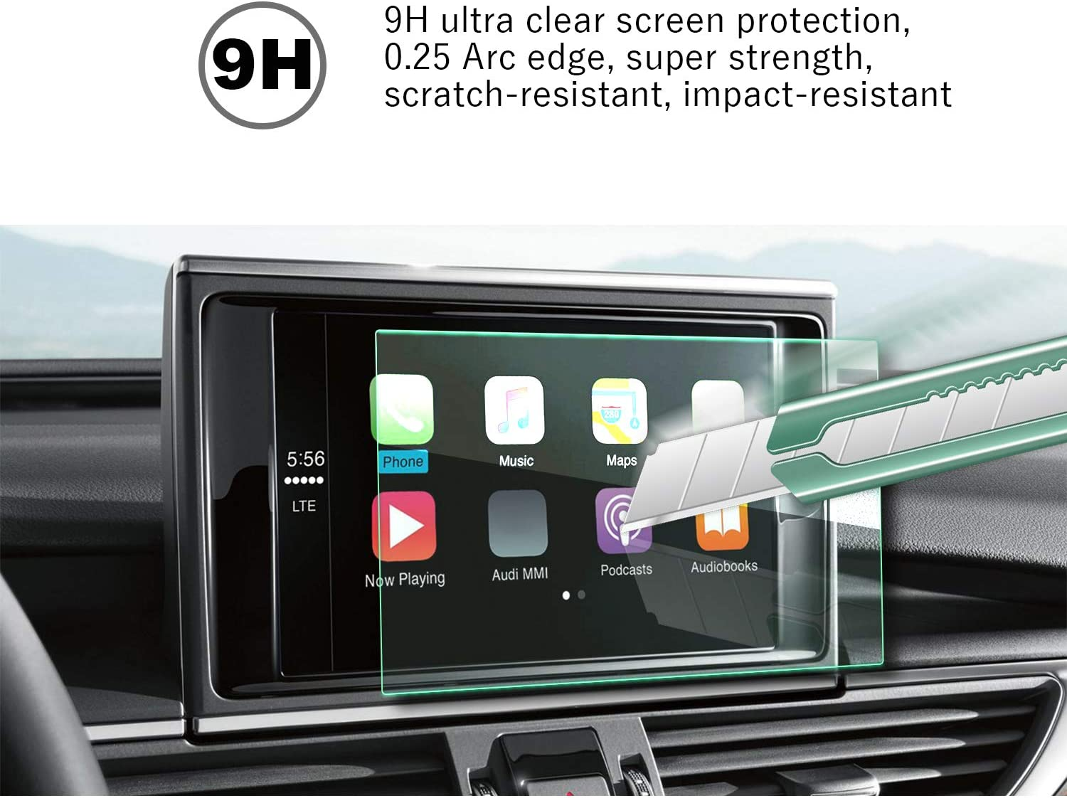 Reduce The Fingerprint Automatic Adsorption Tactile Silky Slippage Easy to Clean /& Scratch Resistance Tempered Glass 2016 2017 2018 Audi A6 MMI 8Inch Navigation Film
