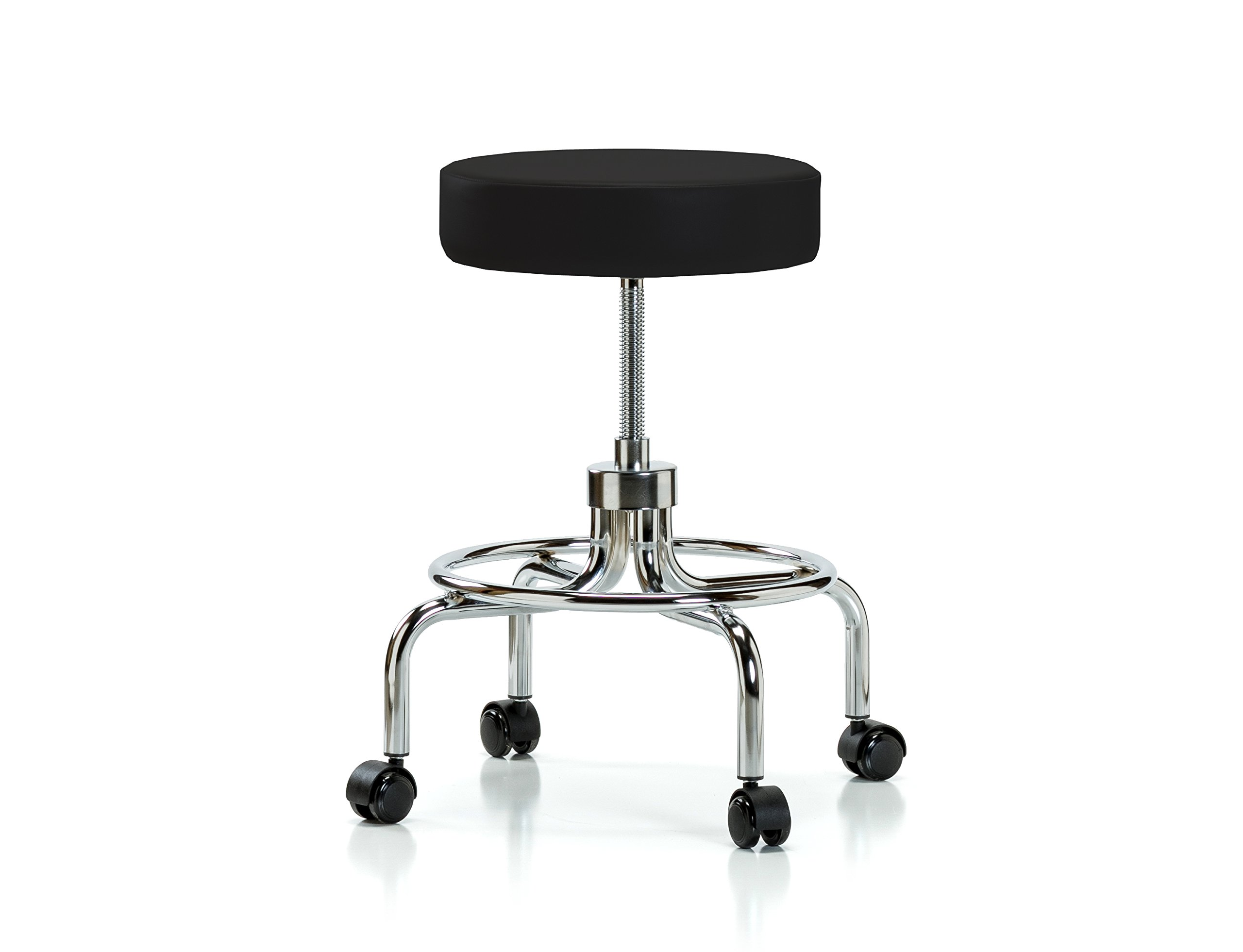 PERCH Chairs & Stools PERCH Rolling Retro Exam Stool with Wheels for Hardwood or Tile Floors, Black Vinyl