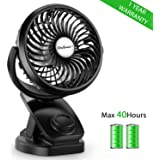 SkyGenius Battery Operated Clip on Mini Desk Fan