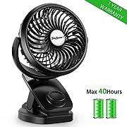 SkyGenius Battery Operated Clip on Mini Desk Fan, Rechargeable Baby Stroller Fan W/ 4400mA Batteries