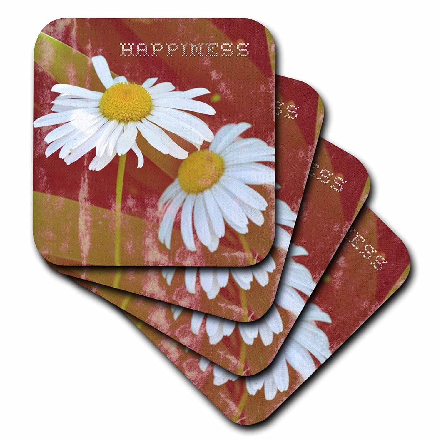3dRose cst/_29399/_1 Vintage Happiness Daisy Flowers Flower Photography-Soft Coasters Set of 4