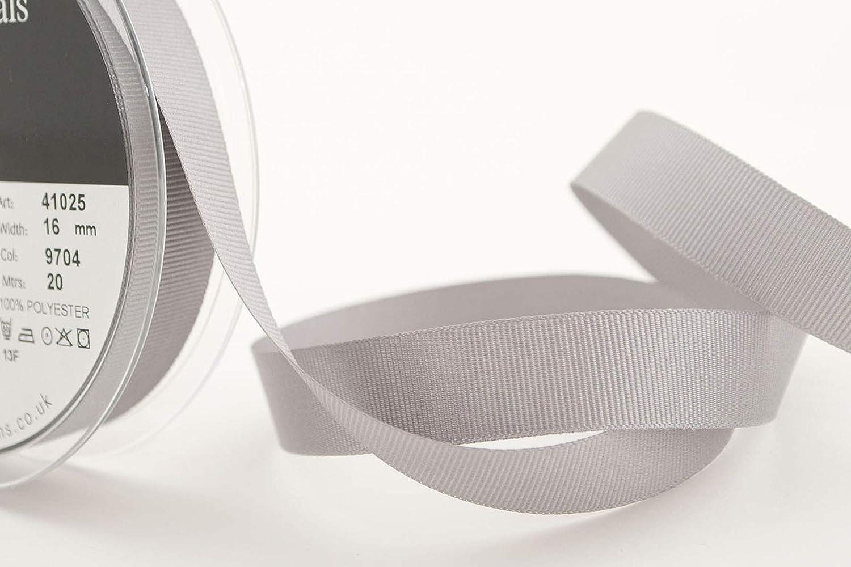 Gris Berisfords 41025 Ruban de Polyester Gros-Grain 20 m x 16 mm