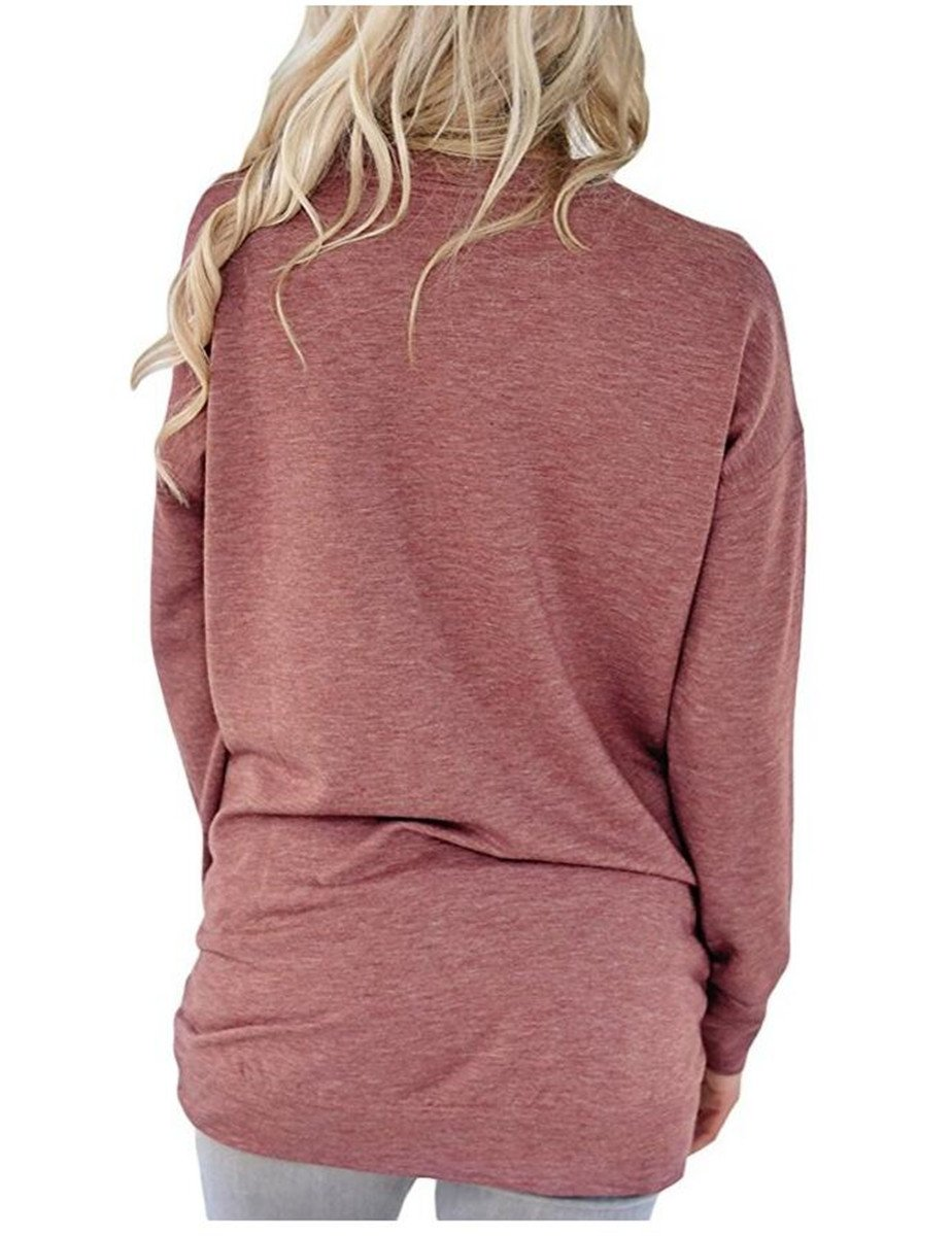 UniDear Women Casual Long Sleeve Round Neck Sweatshirt Loose Blouses Tops with Pocket Wine Red Small by UniDear (Image #3)