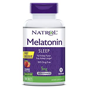 Natrol Melatonin Fast Dissolve Tablets, Helps You Fall Asleep Faster, Stay Asleep Longer, Easy to Take, Dissolves in Mouth, Faster Absorption, Strawberry Flavor, 5mg, 150Count natural sleep aids - 71AtPpXdOmL - Natural sleep aids – the best supplements to end sleepless nights