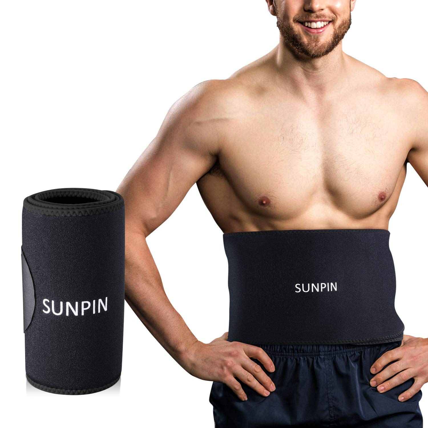 Waist Trimmers SUNPIN, Waist Trainer Slimming Belt, Adjustable Stomach Fat Burner Wrap, Low Back Lumbar Support for Men & Women - Promotes Healthy Sweat, Weight Loss (Black)