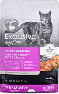 Exclusive | Nutritionally Complete Adult Cat Food | Chicken and Brown Rice Recipe - 15 Pound (15 lb) Bag