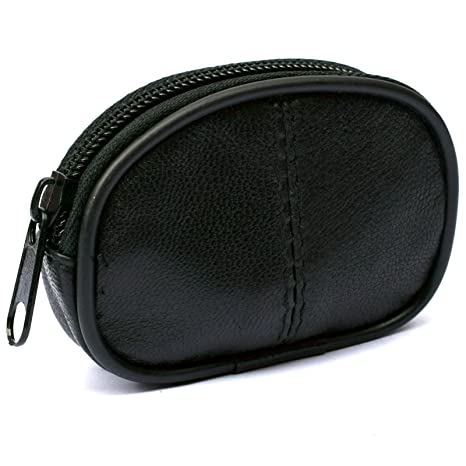 Amazon.com: Mens and Ladies Small Real Leather Oval Shape ...