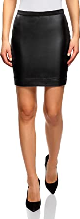 oodji Ultra Femme Jupe en Coton avec Ceinture