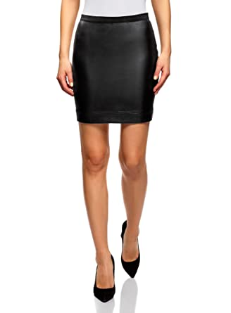 oodji Ultra Mujer Falda de Piel Sintética con Cinturón Elástico ...