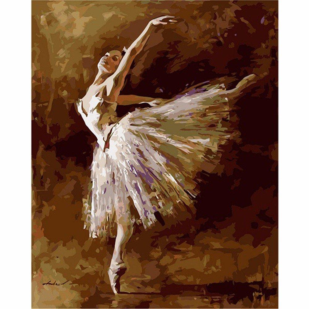 Wangjian& gerahmte Digitale Ölgemälde von Zahlen DIY Dekoration Handwerk Einzigartiges Geschenk Bild Farbe auf Leinwand Balletttänzer, 40  50cm