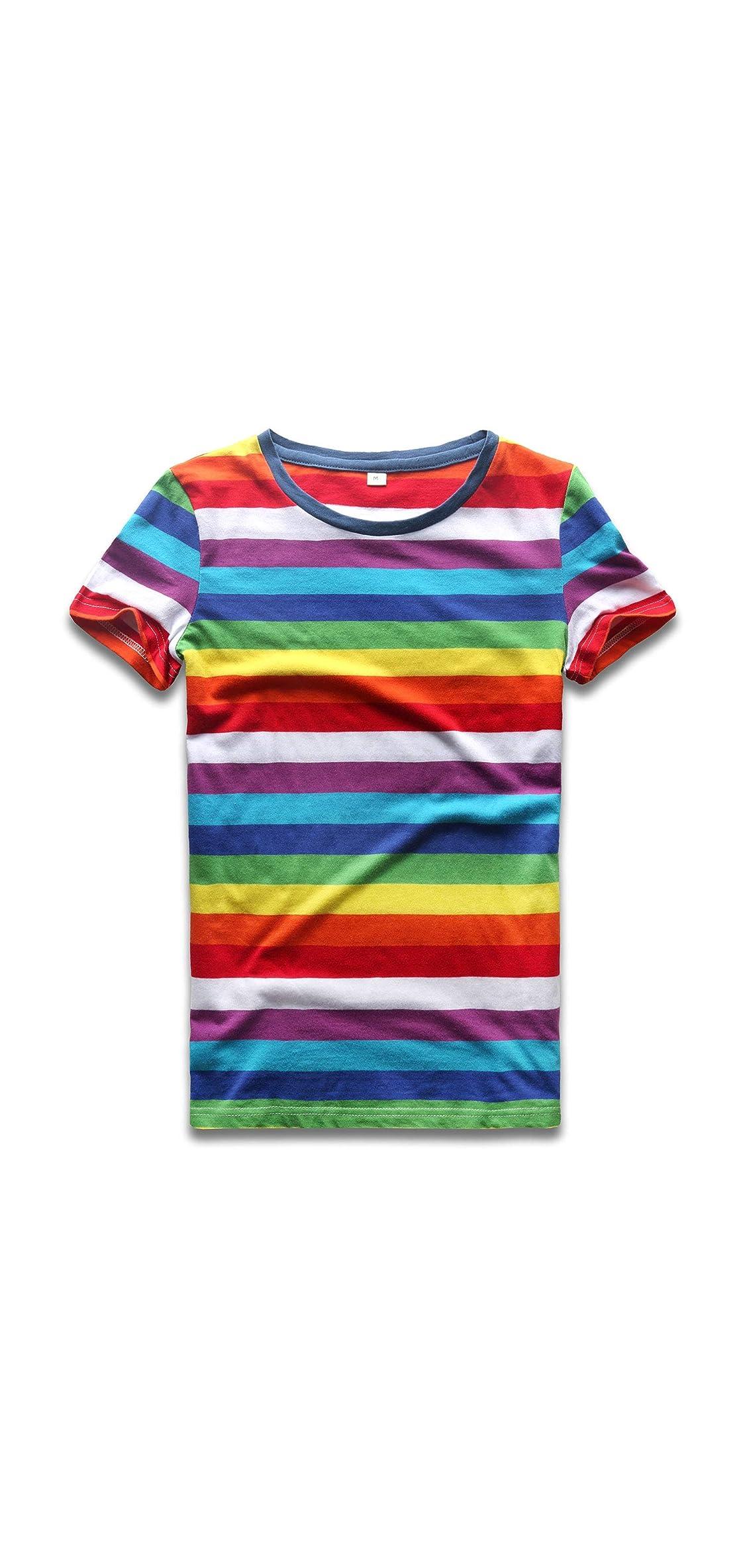 Rainbow T Shirt Women Striped Crew Neck Short Sleeve Stripes Tee