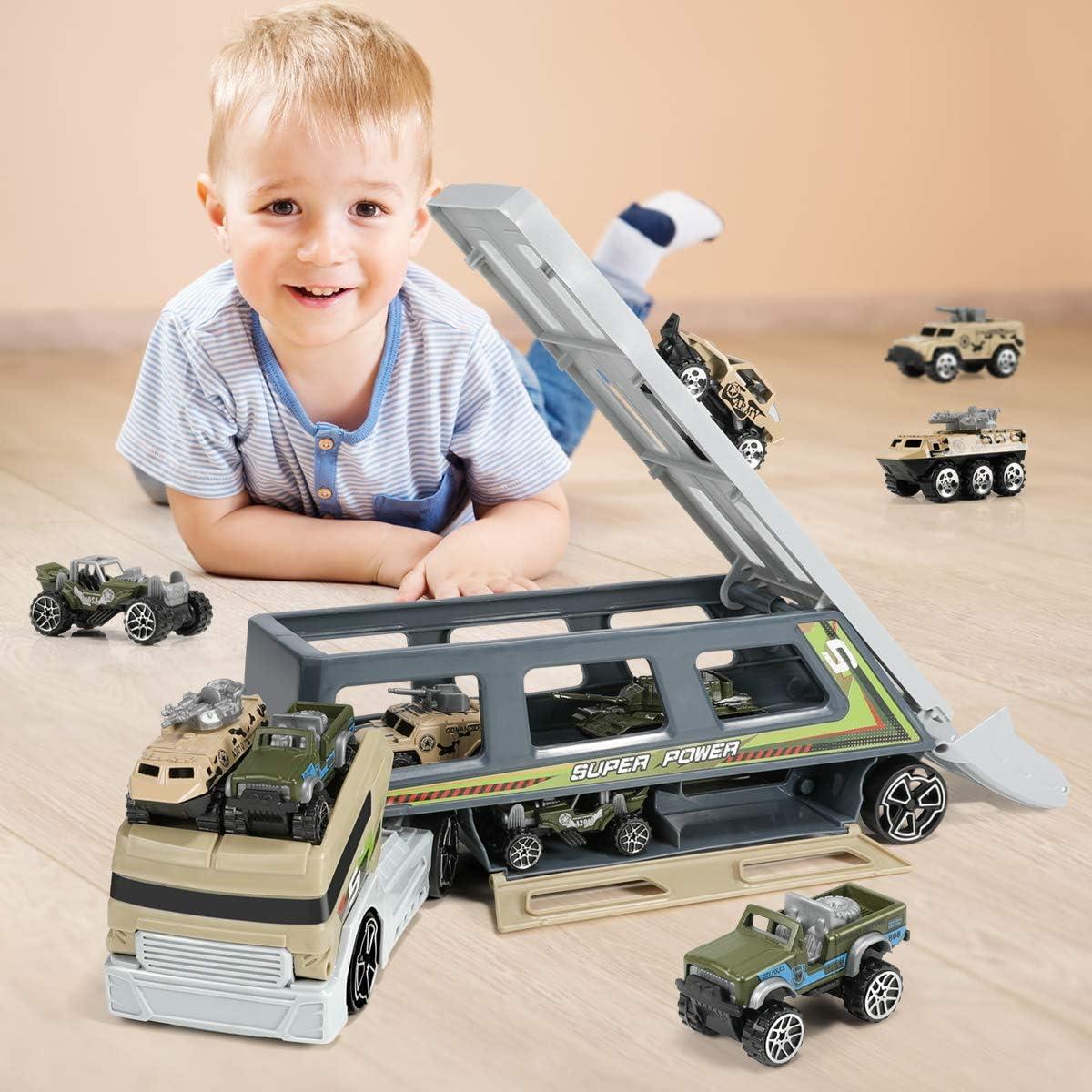 Armee Fahrzeug Kampfwagen Spielzeugautos Gepanzertes Fahrzeug LKW Spielzeugset im Lastwagen f/ür KinderJunge M/ädchen Geyiie Milit/är Autos Spielzeug