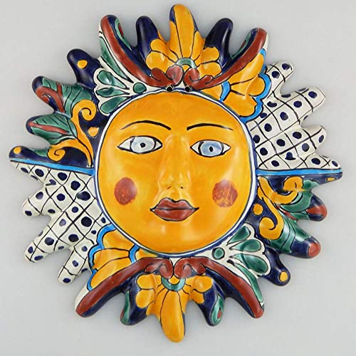 Mexican Talavera Ceramic Sun Face Wall Decor Hanging Pottery Folk Art 05