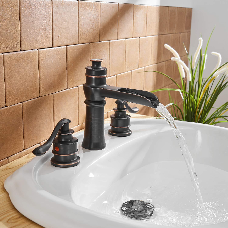 Bwe Waterfall Oil Rubbed Bronze Bathroom Sink Faucet Single Handle