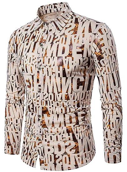 SHOWNO Mens Shirts Print Button Down Casual Loose Long Sleeve Dress Shirts