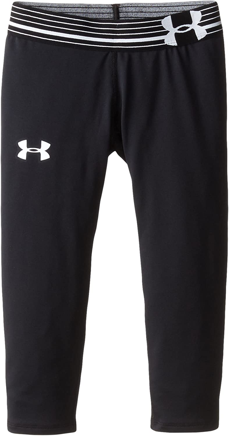 Under Armour Girls' HeatGear Armour Pants, Black /White, Youth Small