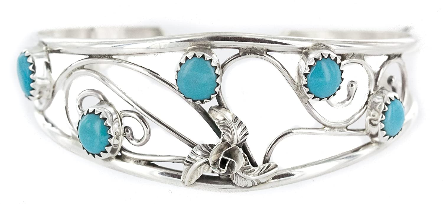 Delicate $300 Retail Tag Handmade Authentic Made by Carolynn Nez Navajo Silver Natural Arizona Sleeping Beauty Turquoise Native American Bracelet