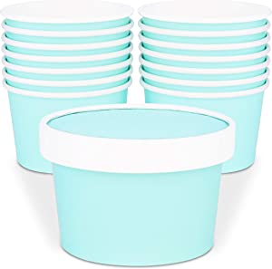 Glowcoast Ice Cream Containers With Lids - 6 oz (Mini Pint, 30 set) Ice Cream Storage Container for Homemade Icecream. Freezer-Safe Tub with Lid Protect Frozen Desserts like Yoghurt (Mint, 30)