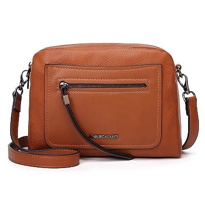 Womens Faux Leather Multi Pocket Zip Twin Tote Crossbody Handbag Shoulder Bag