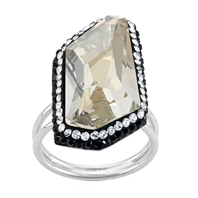 475e4f46e Image Unavailable. Image not available for. Color: Rhodium Plated Sterling  Silver Asymmetrical Clear and Black Swarovski Crystal Ring