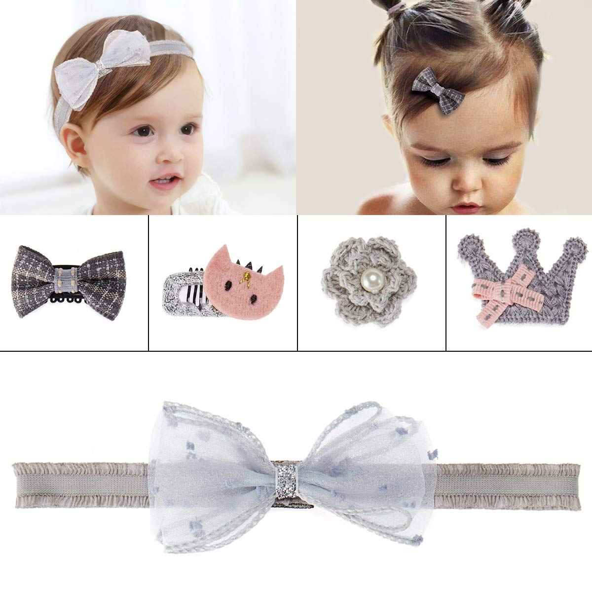 SOMIER 5pcs Baby Bowknot Hairband Set Flower Hair Clips Set Princess Crown Hair Barrettes for Little Girls Kids Toddlers Hair Accessories