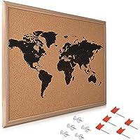 Navaris Tableau d'affichage en liège - Panneau mural 50 x 40 cm avec cadre et 10 punaises rouges et transparentes - Tableau mémo carte du monde