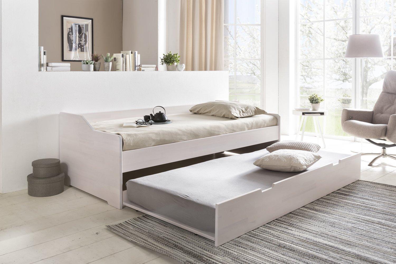 Massivholz-Gästebett aus Kernbuche weiß, ausziehbares Doppel-Bett ...