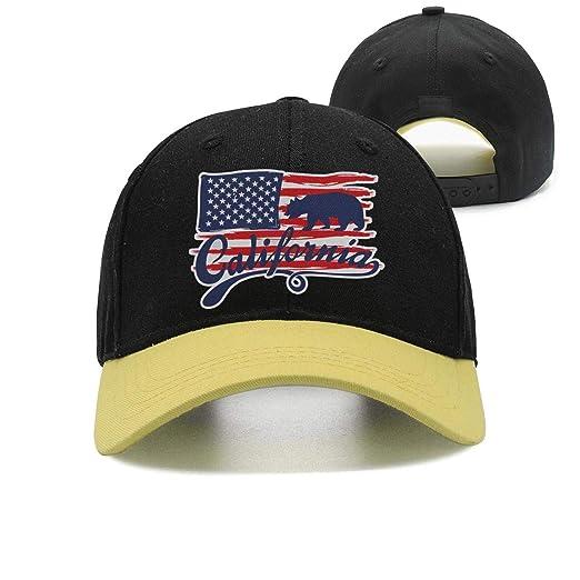 31f820e1 California Bear Flag American Flag Unisex Casual All Cotton Flat Cap  Adjustable Fits Snapback hat Sport
