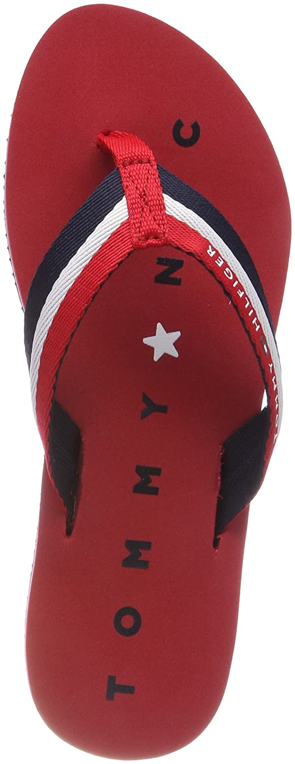 Tommy Hilfiger Damen Tommy Loves NY Beach Sandal Zehentrenner  37 EU|Rot (Tango Red 611)