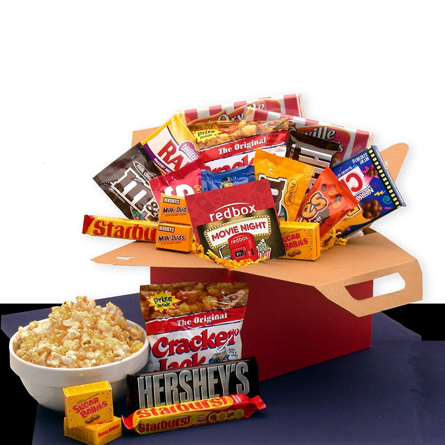 Movie Night Care Package with chocolate, candy, snacks and a 10.00 Redbox Gift card