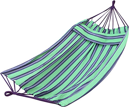 Strong Camel Purple Green Hammock Double Size Quilted Fabric Heavy Duty Sleep Bed W/Pillow no Wooden Stick