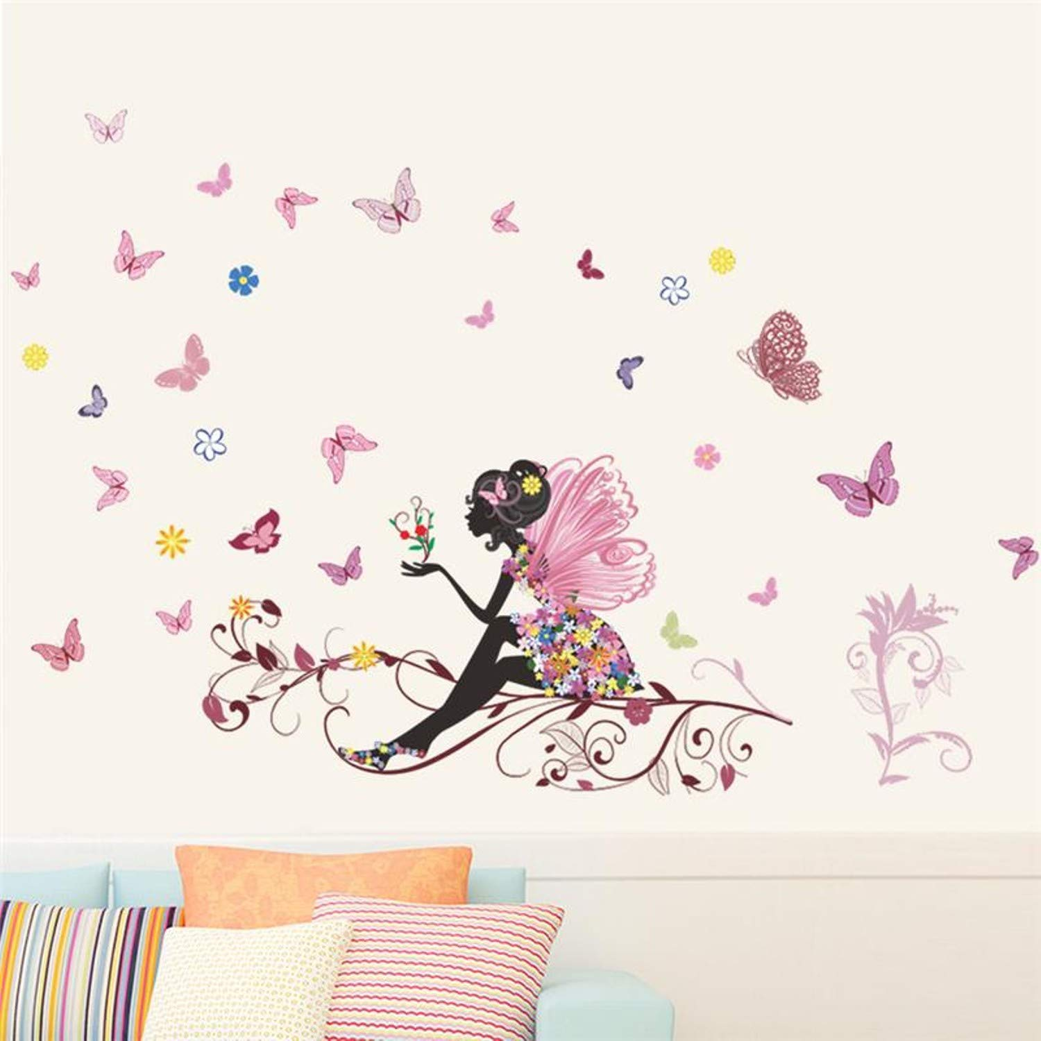 Amazon.com: Chitop Beautiful Girl Butterfly Flower Art Wall Sticker for Home Decor - DIY Personality Mural Child Room Nursery Decoration Print Poster ...