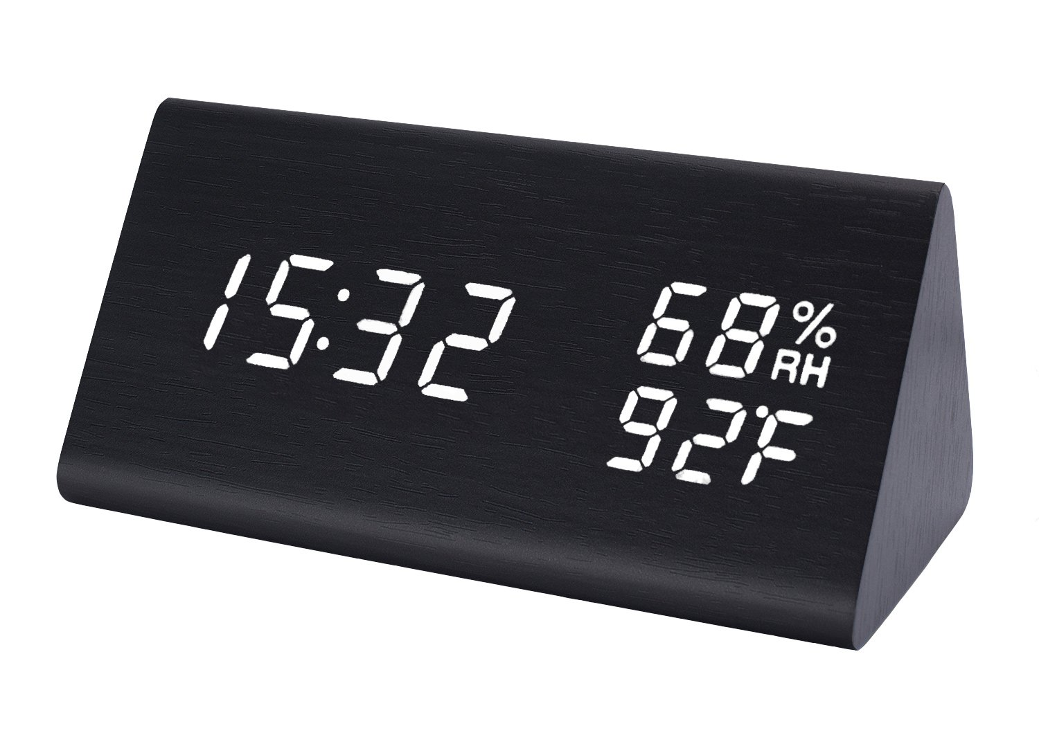 Raercodia Wooden Desk Clock LED Wood Alarm Clock Modern Digital Electronic Clock Display Time Date Calendar Temperature Humidity Brightness Adjust Voice Control USB Powered Clock for Home Bedroom Office Bedroom TV Stand(Black, White) CACK-011T-150BKWH