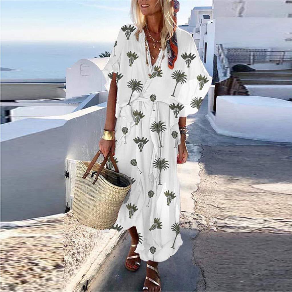 Ultramall Fashion Women Short Sleeve V-Neck Coconut Printed Sexy Long Bohemia Dress White by Ultramall (Image #2)