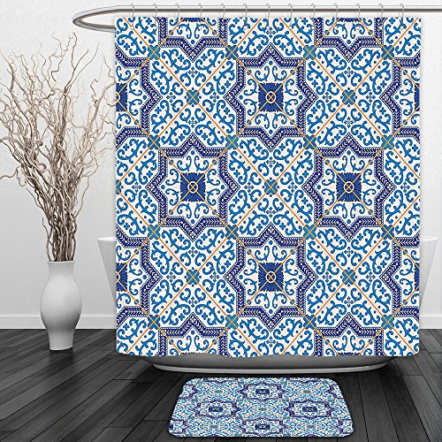 Vipsung Shower Curtain And Ground MatMoroccan Decor Collection Moroccan Portuguese Style Classic Tiles Ornaments Islamic Historical Buildings Art Blue WhiteShower Curtain Set with Bath Mats Rugs by vipsung