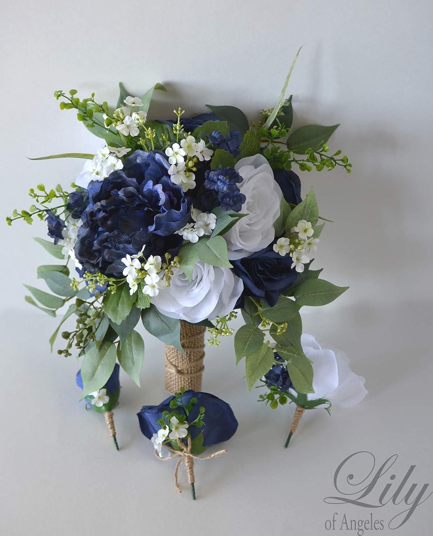 SILK WEDDING BOUQUET TEAL LILY WHITE GYP DUSTY GREEN TEARDROP FLOWERS SET