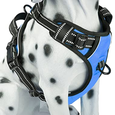 PoyPet No Pull Dog Harness, Reflective Vest Harness with 2 Leash Attachments and Easy Control Handle for Small Medium Large Dog