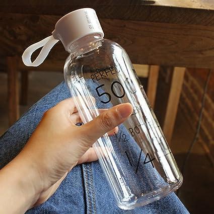 Vidrio claro 600ML, botella de agua de cristal de los deportes del Borosilicate con la