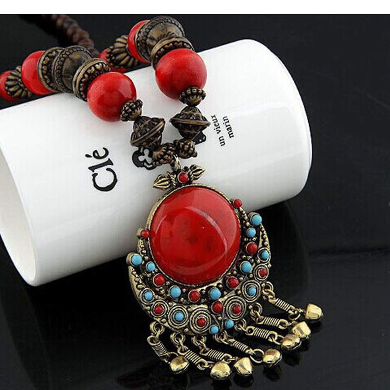 HUAMING Fashion Women Lady Fancy Necklace Bohemian Beads Large Pendant Necklace Big Simulation Gemstone Jingle Long Necklace