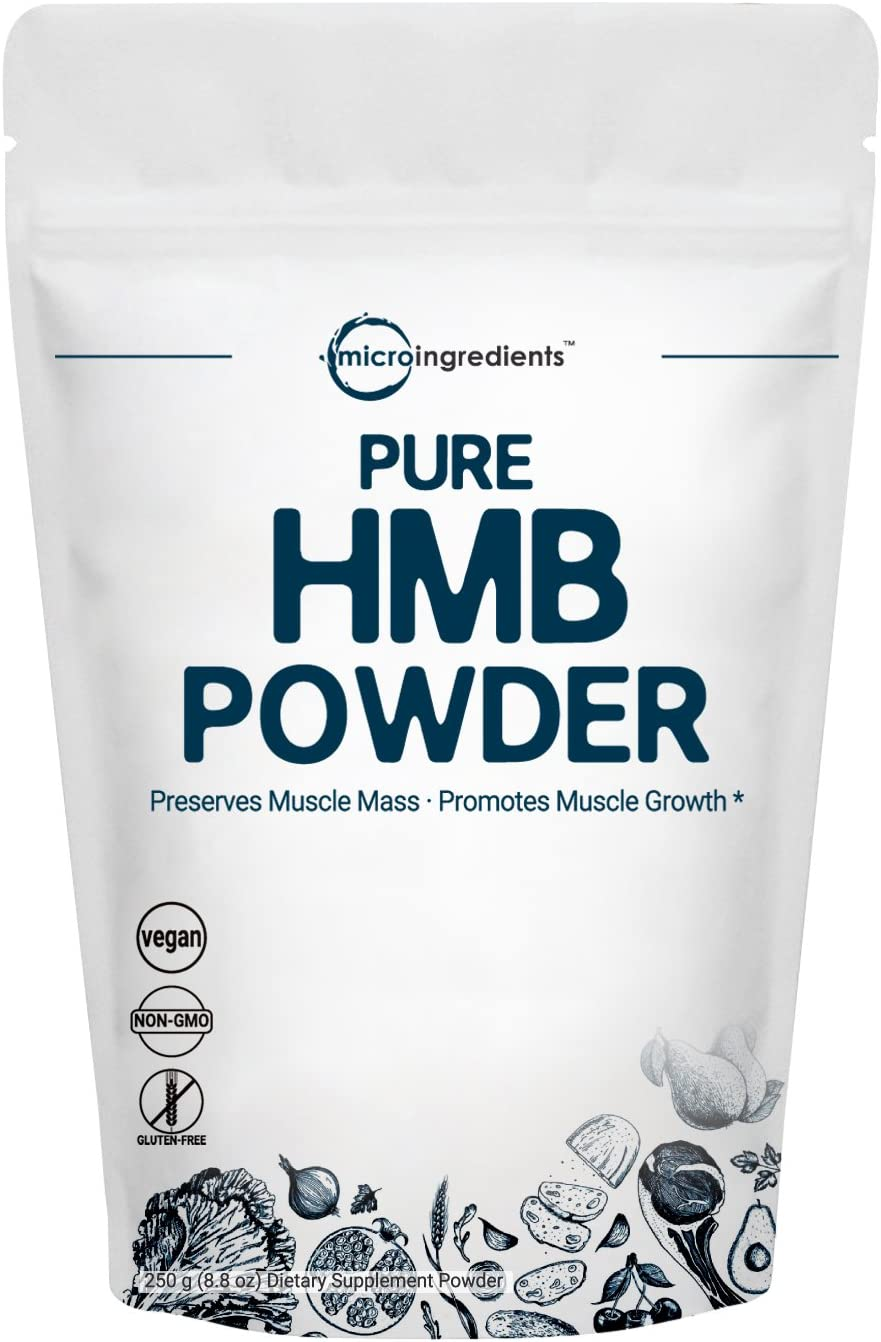 Micro Ingredients Pure HMB Powder, 250 Grams, Powerfully Supports Muscle Stamina, Endurance and Strength, No GMOs and Vegan Friendly