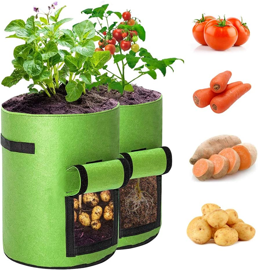 BAGOKIE Potato Grow Bags 10 Gallon with Flap 2 Pack, Thick Breathable Non-Woven Fabric Bags, Vegetable Planting Bags, Tomato Planter Bags, Garden Container Bag for Carrots Plant Grow Bags Outdoor