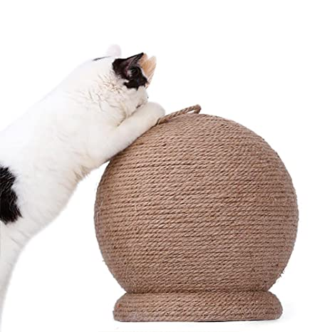 Jannyshop Rascador para Gatos Esfera con Juguete con Hierba Gatera 30×30 cm