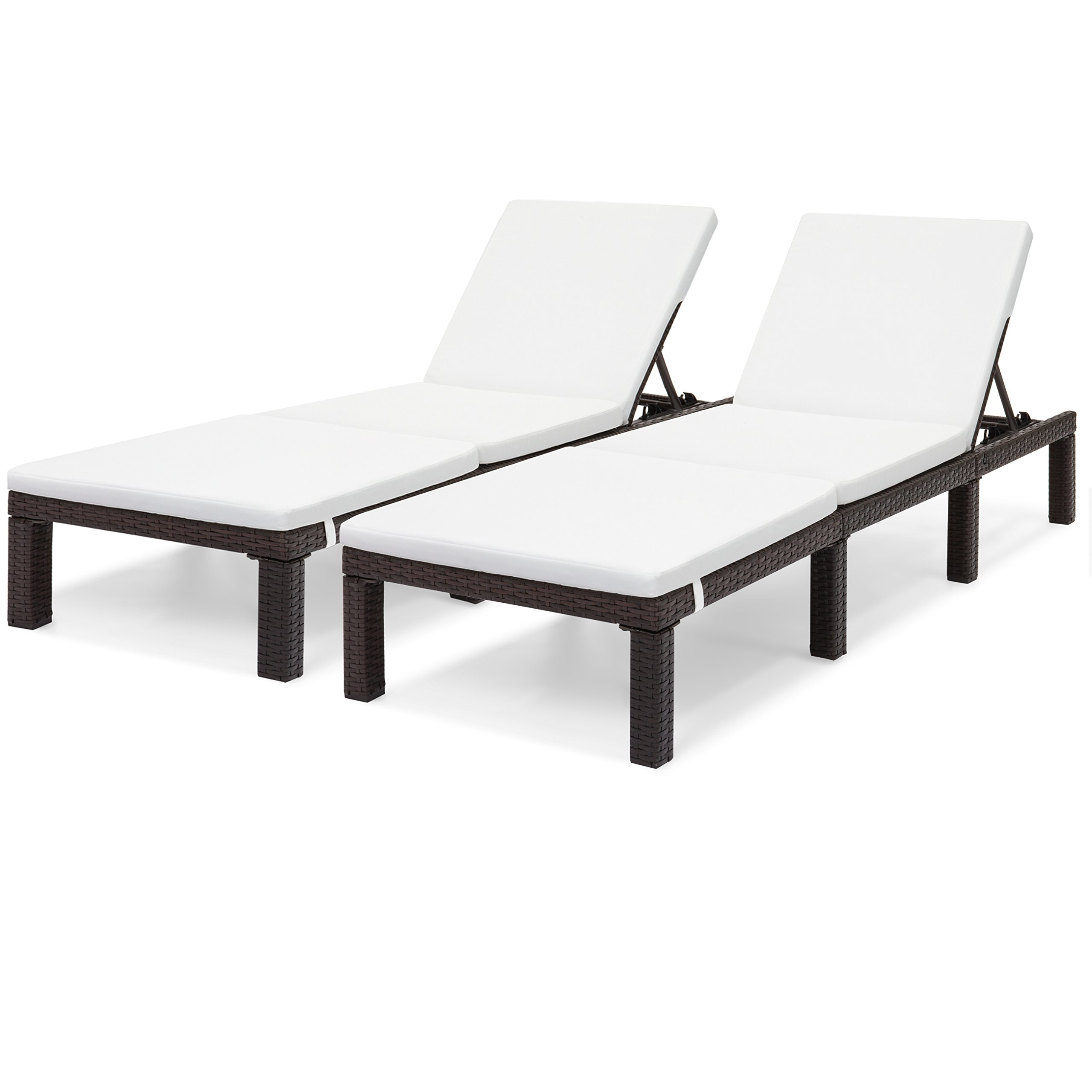 Best Choice Products Set of 2 Wicker Adjustable Chaise Loungers w/Cushions - White