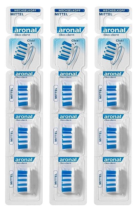Aronal eco - Dent reemplazable cabeza cepillo de dientes, medio, recarga pack, pack