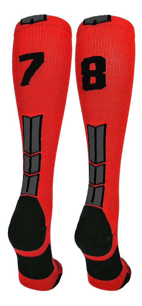 MadSportsStuffレッド/ブラックPlayer IDカスタムover the calf Socks数(ペア) B07BDNKM5M #78 Medium Medium|#78