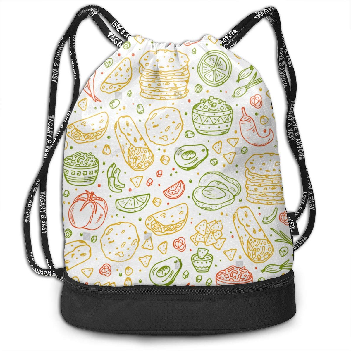 HUOPR5Q Mexican-Tradition-Food Drawstring Backpack Sport Gym Sack Shoulder Bulk Bag Dance Bag for School Travel