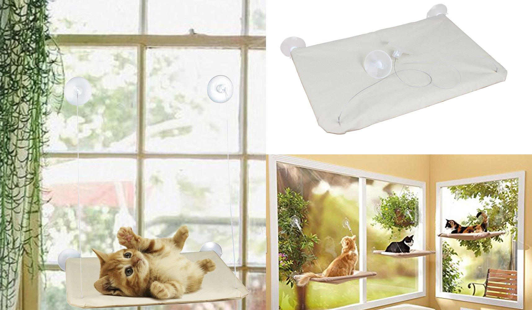 Cat Window Seat SmartSpeed Window Mounted Cat Bed with Suction Cup
