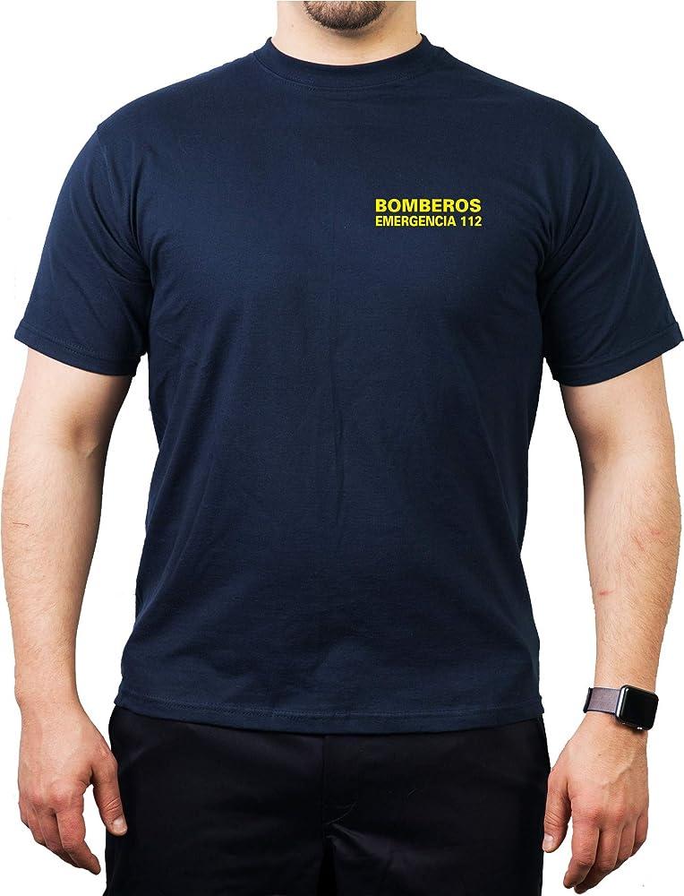 fuego1 T-Shirt/Camiseta (Navy/Azul) Bomberos Emergencia 112, Casco ...